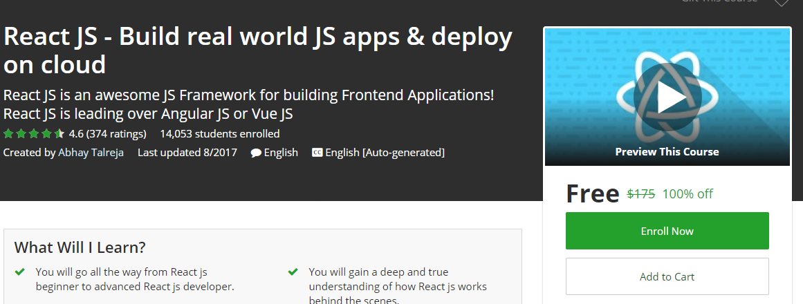 Udemy Coupon Free React Js Build Real World Js Apps Deploy On