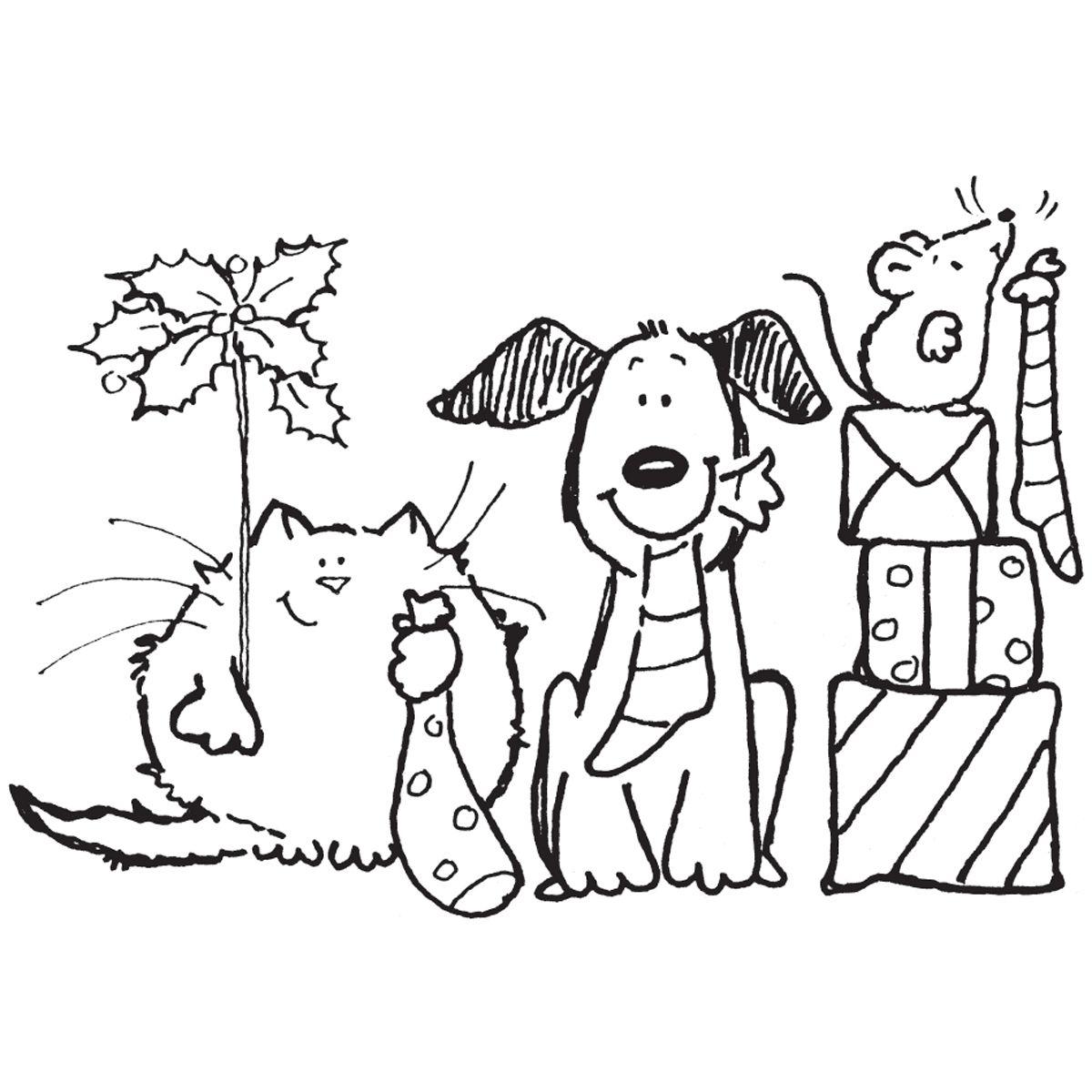 Gato Perro Raton Navidad Kleurplaten