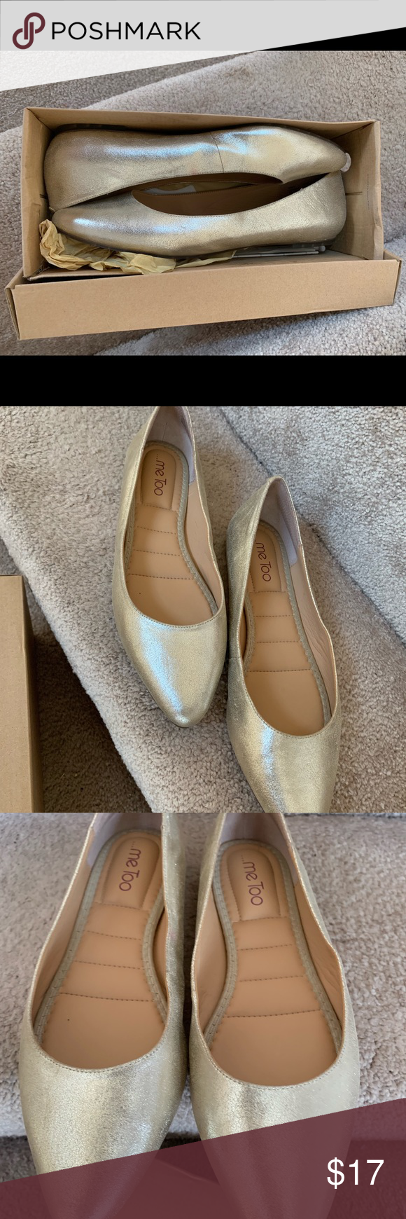 Champagne Gold Ballet Flats Comfortable and beautiful ballet flats with thick cu…
