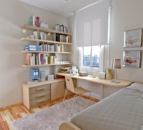 Small Bedroom Teen Bedroom Furniture Ideas Desk Floating Shelves White Rug  Table Lamp