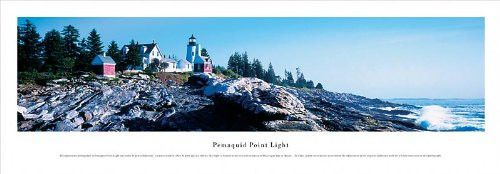 Pemaquid Point Lighthouse Skyline Panoramic Print- Awesome and Beautiful! This Is a Must for Any Home or Office Decor!