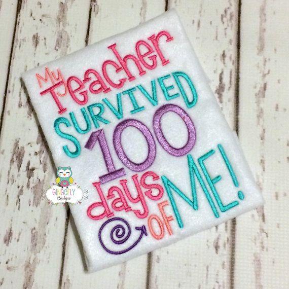 My teacher survived 100 days of me Shirt , Girl 100 Days of School Shirt, 100 Days of School, 100th Day of School , 100 Days of school shirt