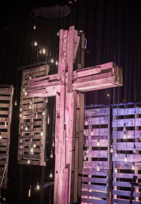 Rugged cross church stage design ideas