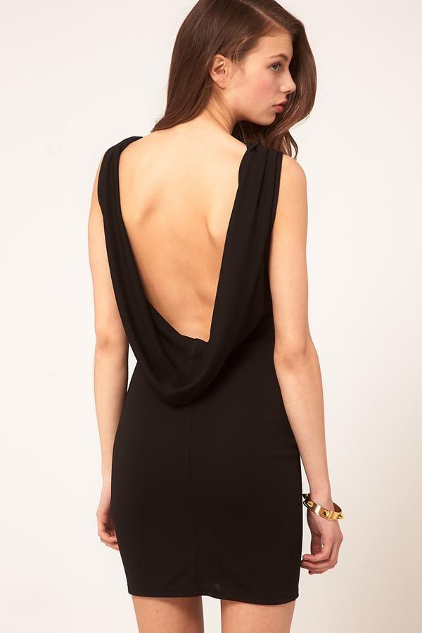 Elegant Black Sheath/Column Backless Short/Mini Chiffon Cocktail ...