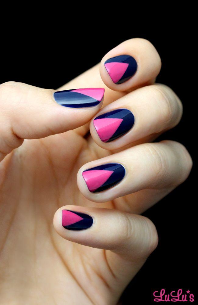 Mani Monday Hot Pink And Navy Blue Chevron Nail Tutorial Lulus Com Fashion Blog Chevron Nails Chevron Nails Tutorial Blue Chevron Nails