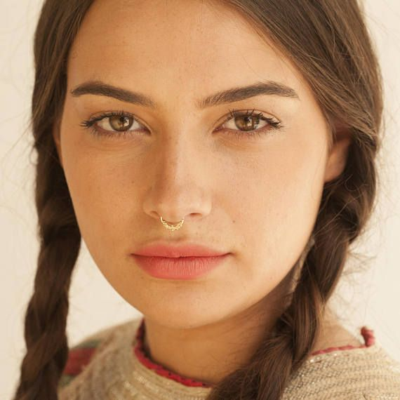 Solid Gold Septum Ring Tribal Septum Ring Nose Ring Nose Piercing