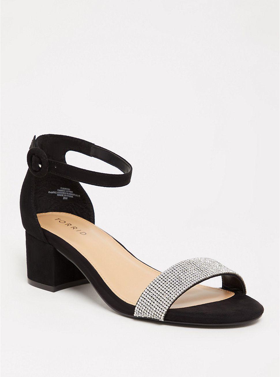 Black Rhinestone Block Heel Sandal Ww Black Ankle Strap Heels Block Heels Sandal Sandals Heels [ 1308 x 971 Pixel ]