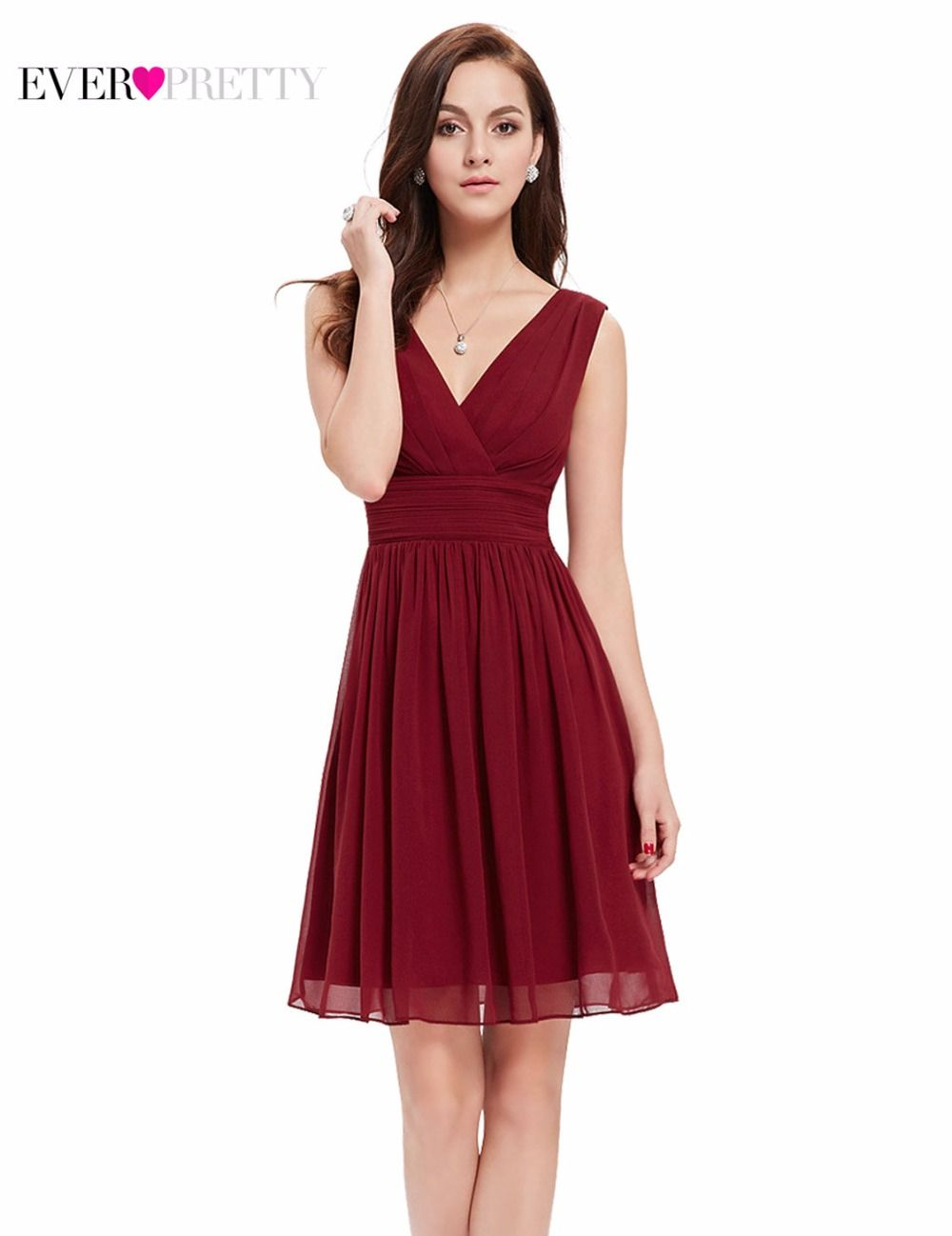398934387664f Cocktail Dresses Pink Chiffon Short Dresses Elegant Ever Pretty EP03535 A  Line 2018 Special Occasion Party Dresses