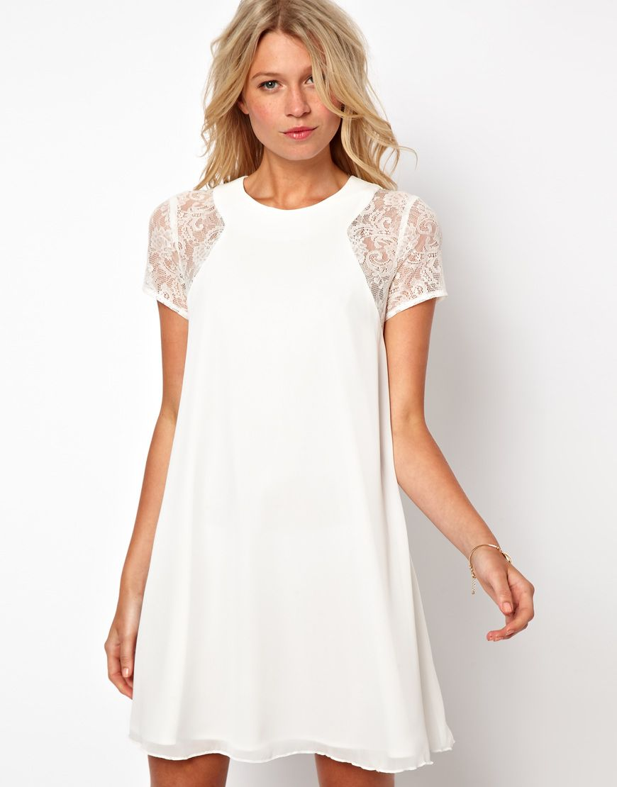 White Swing Dress with Lace Insert - perfect for the holidays.