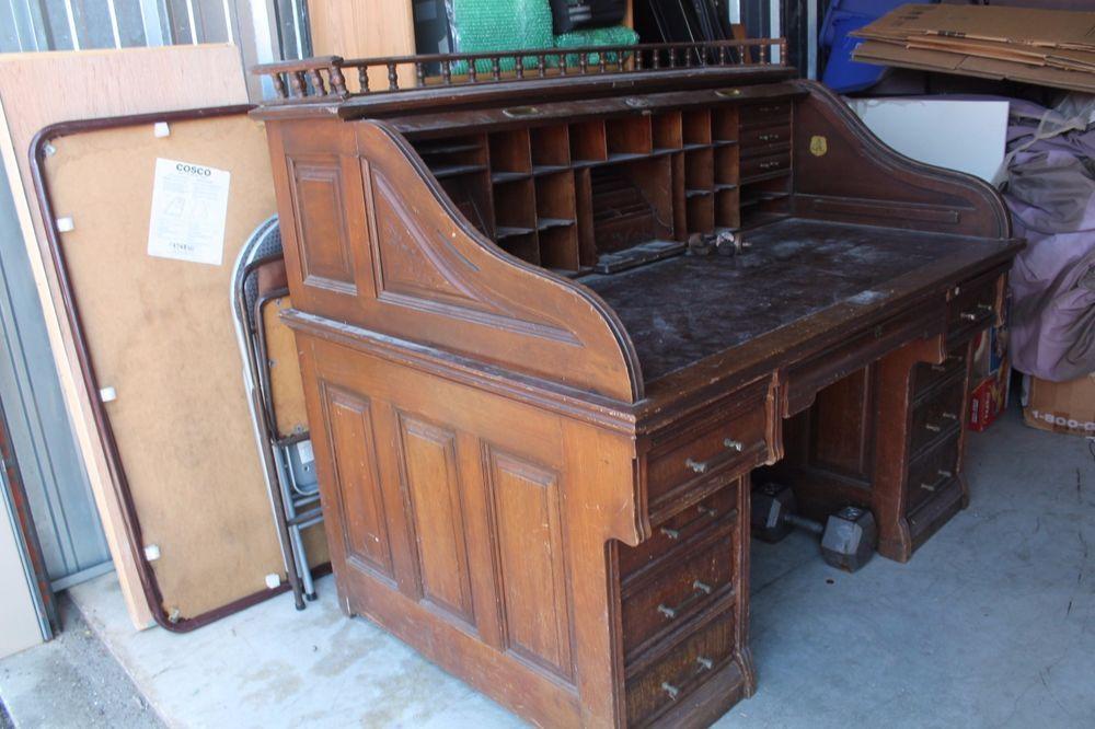 Antique Roll Top Desk By A H Andrews Co 1890 Walnut Or Cherry Home Office Desks Roll Top Desk Desk