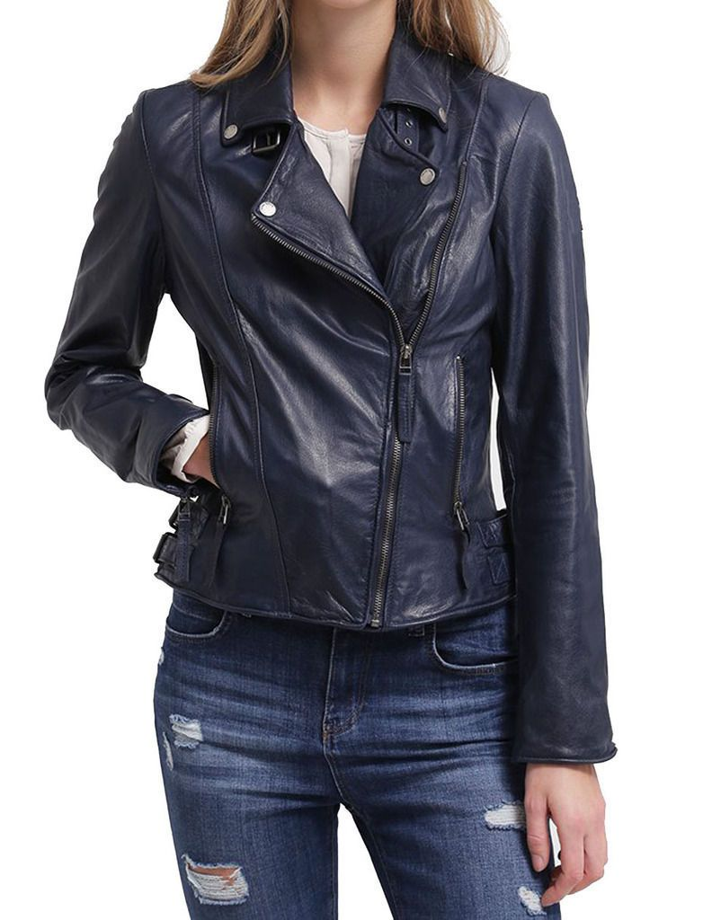 388f8088dff2b Women s Navy Blue Motorcycle Fashion Original Leather Slim Fit Jacket