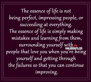 The essence of life is not being perfect Life quotes