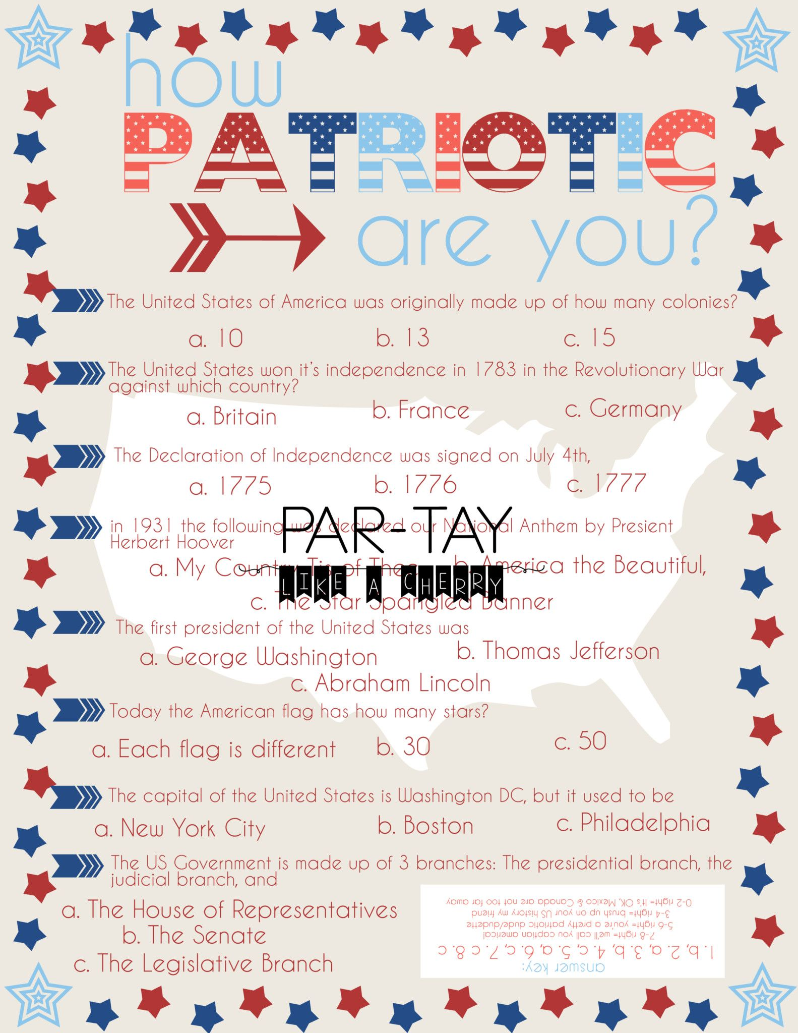 4th of july party game quiz party games free printable and gaming