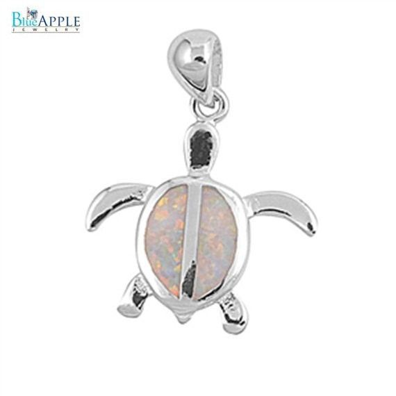 Turtle Pendant Lab White Opal Cut Cute Solid 925 Sterling Silver Pendant Turtle Lovers Good Luck Gift Turtle Charm
