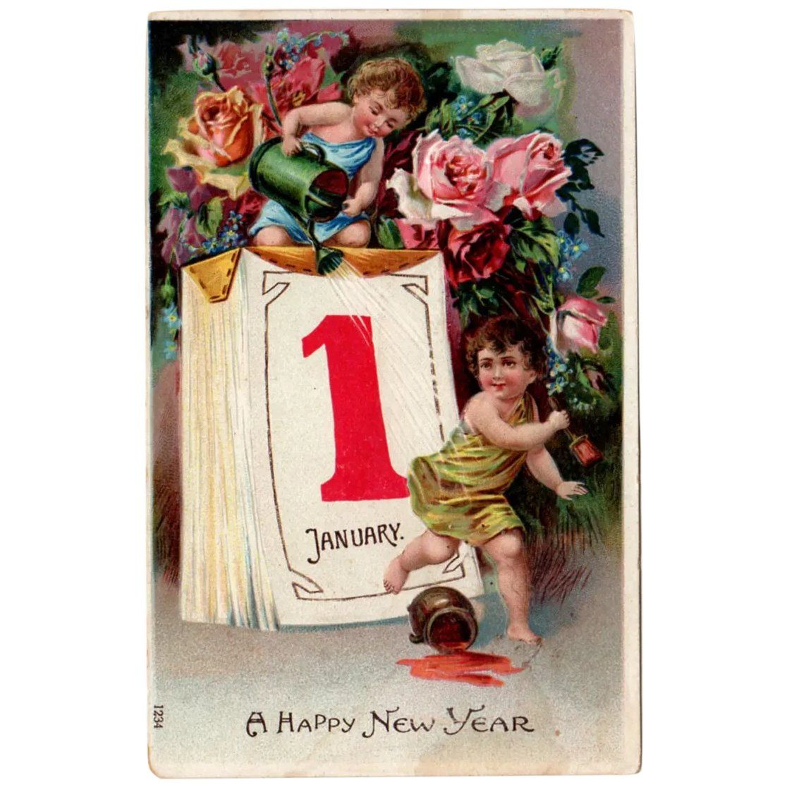 Vintage Embossed German Postcard for New Year's with