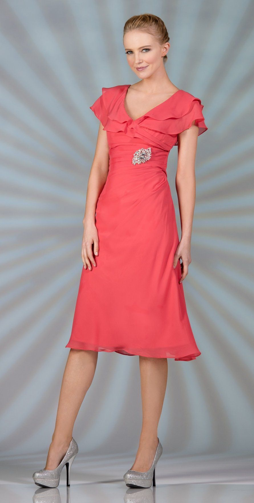 Short Mother Of Bride Coral Tea Length Dress Chiffon Short