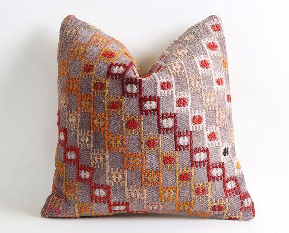 Photo of indie decor, boho decor, home decor, bohemian decor, 16×16 kilim pillow cover, cottage pillow, decorative pillow, cottage decor