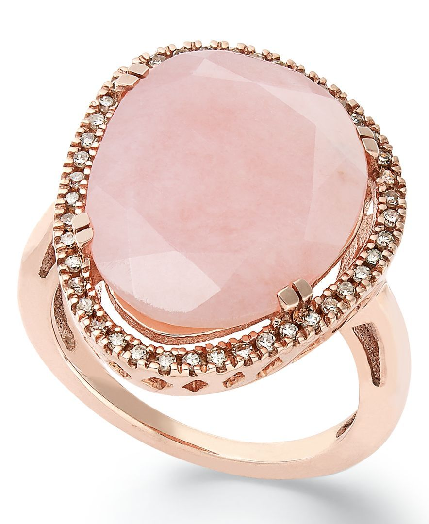 14k Rose Gold over Sterling Silver Ring, Pink Opal (10-3/4 ct. t.w. ...