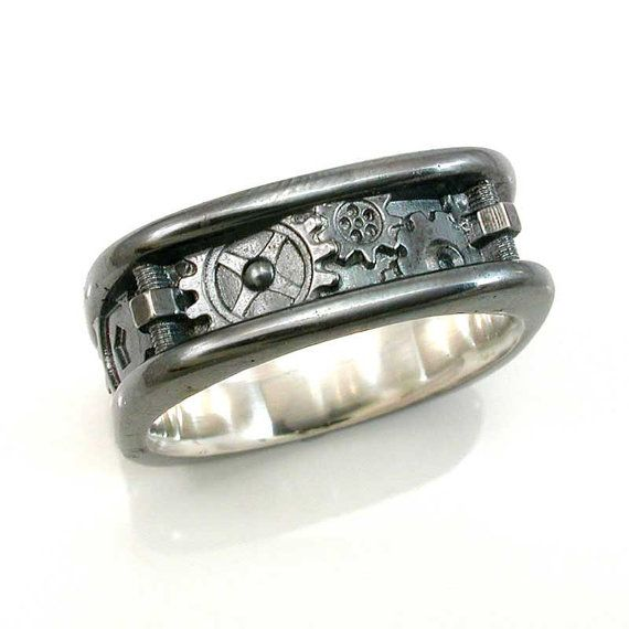 Mens Steampunk Nuts And Bolts Black Silver Ring Handmade Men Wedding