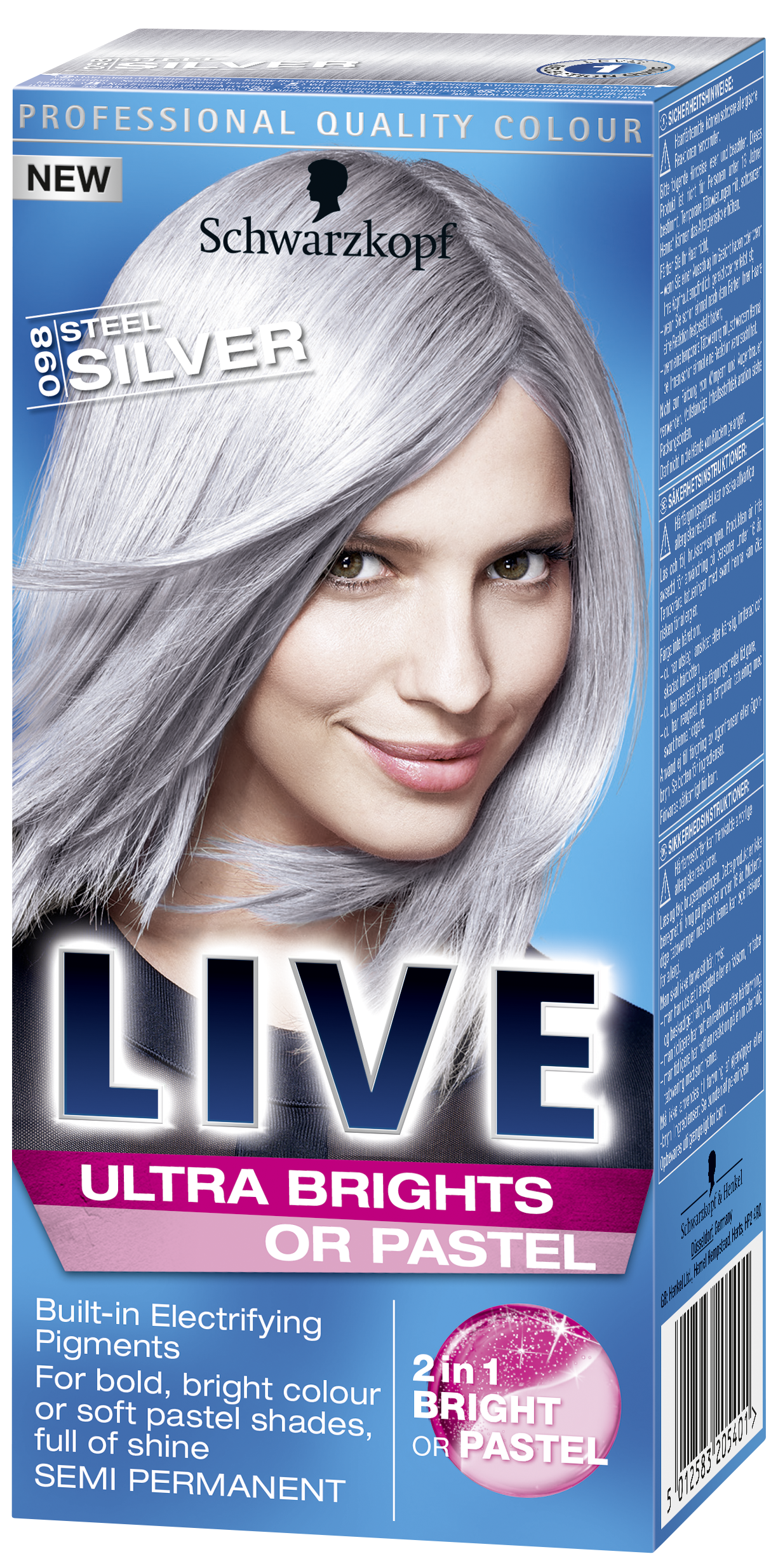 Live Ultra Brights Or Pastel Steel Silver Silver Hair Dye