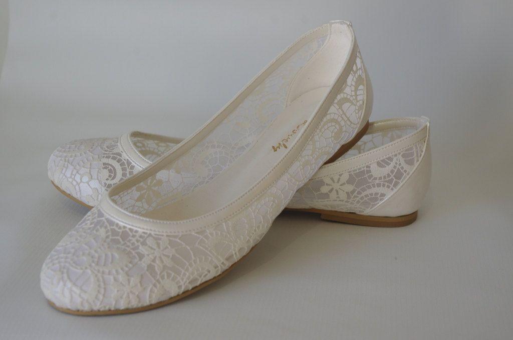 c8e6cd576c83 PEARL Lace Bridal Flats Wedding shoes 1006 door bosphorusshop