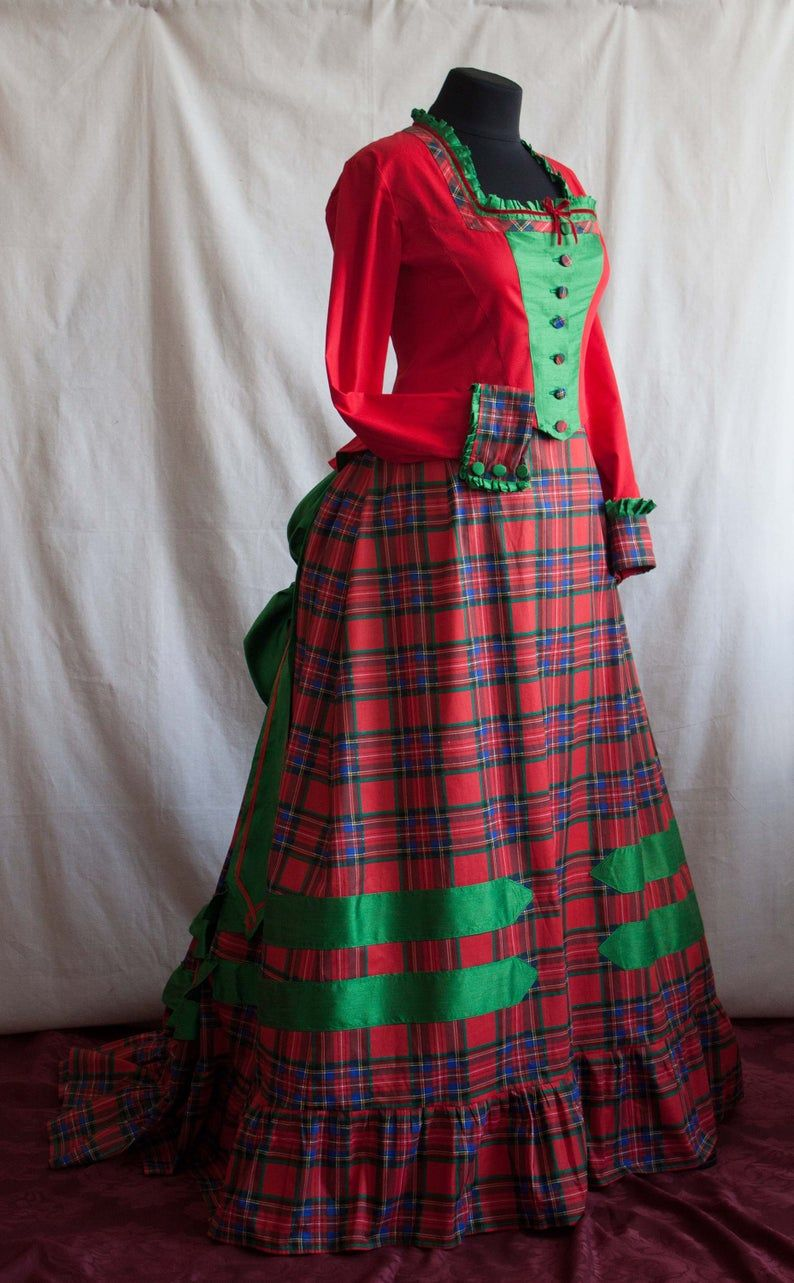Victorian Red And Green Walking Dress 1870s Plaid Bustle Gown Etsy Walking Dress Victorian Gown Victorian Clothing [ 1283 x 794 Pixel ]