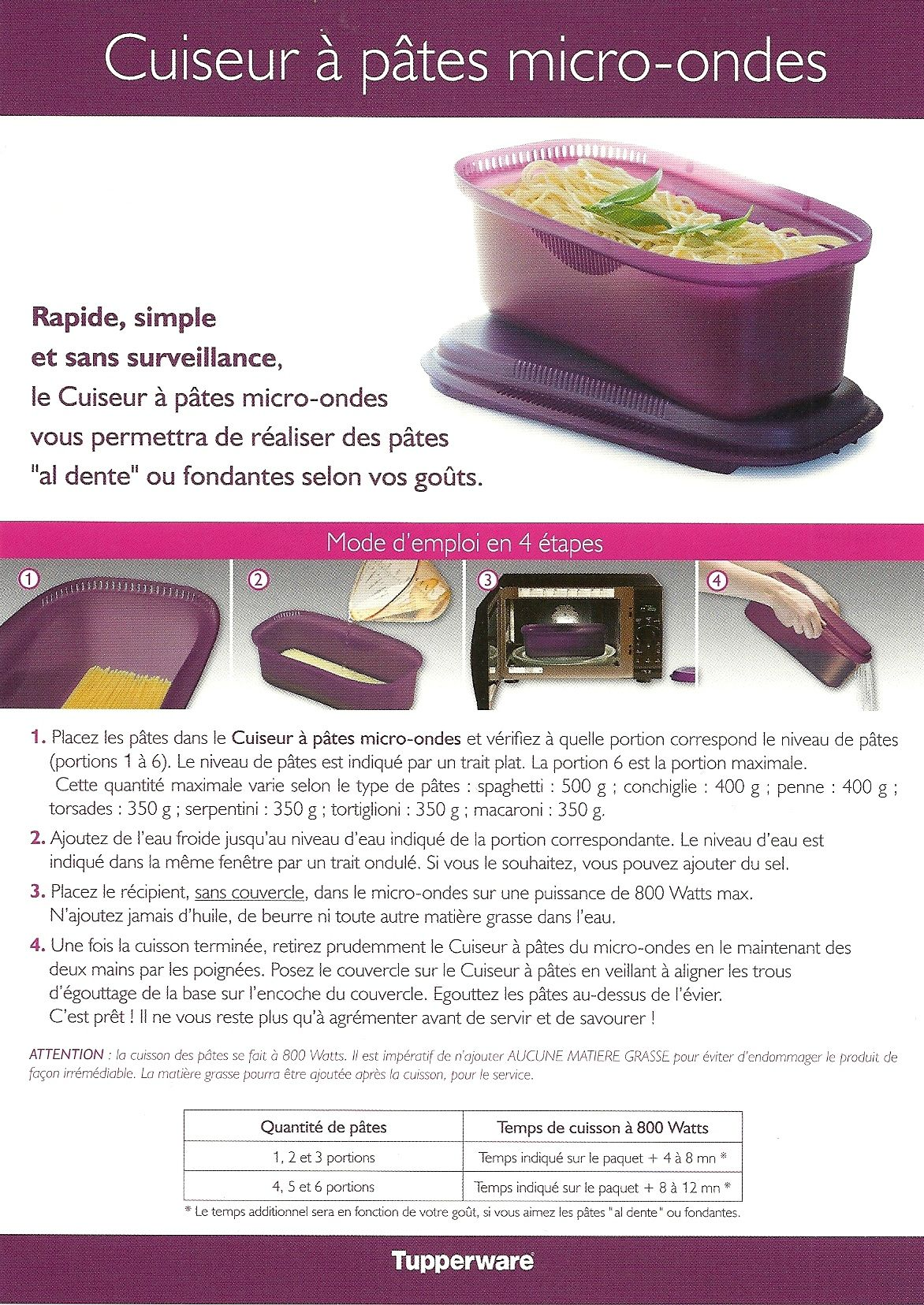 Fiche recette cuiseur p tes 1 2 tupperware tupp pinterest cuiseur - Cuiseur vapeur tupperware ...
