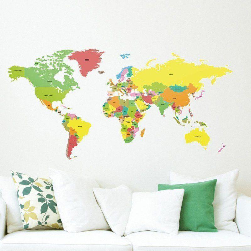coole Wandtattoos Wohnzimmer - Weltkarte in Farbe Wanddekoration - wohnzimmer deko farben