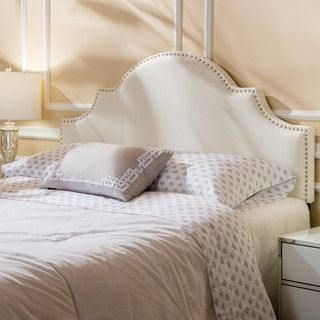 Bianca Adjule Full Queen Studded Fabric Headboard By Christopher Knight Home Ivory Beige Off White