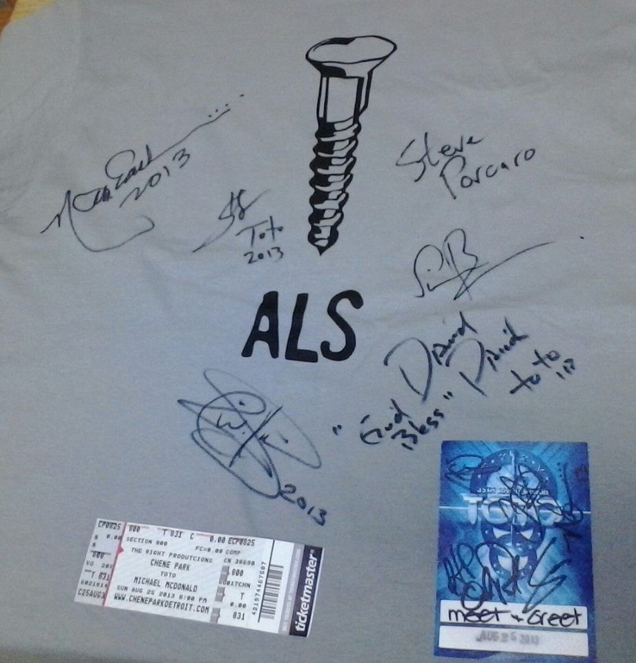 Signed memorabilia from the TOTO concert in Detroit, Michigan. Image ...