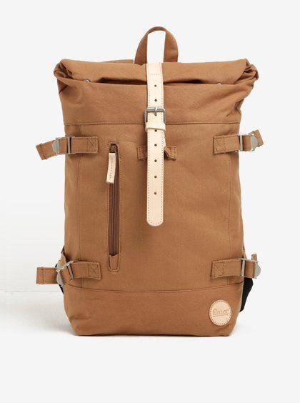 Hnědý batoh s koženými detaily Hiker Roll Top Backpack Enter 16 l ... 93d1a52eee