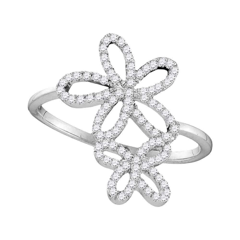10kt White Gold Women S Round Diamond Flower Star Cluster Ring 1 5 Cttw Free Shipping Us Can In 2020 Fashion Rings Large Engagement Rings White Gold
