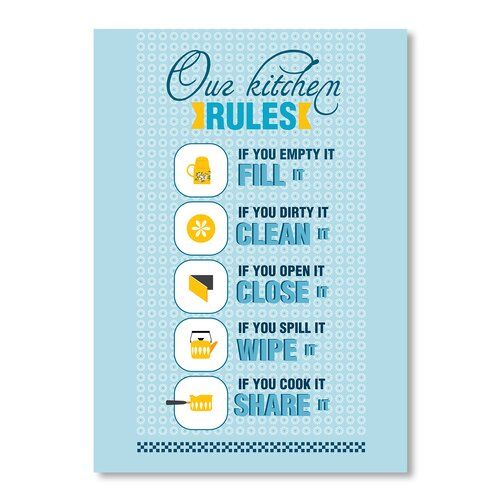 Kitchen Rules by Patricia Pino Graphic Art Wrapped on Canvas Americanflat Size: 30 cm H x 20 cm W #kitchenrules