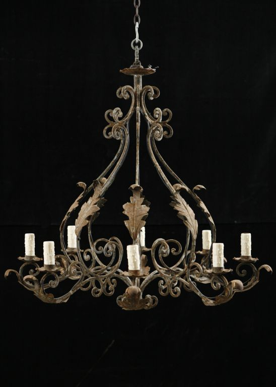 Italian Iron Lighting Italian Antique Wrought Iron 8 Light