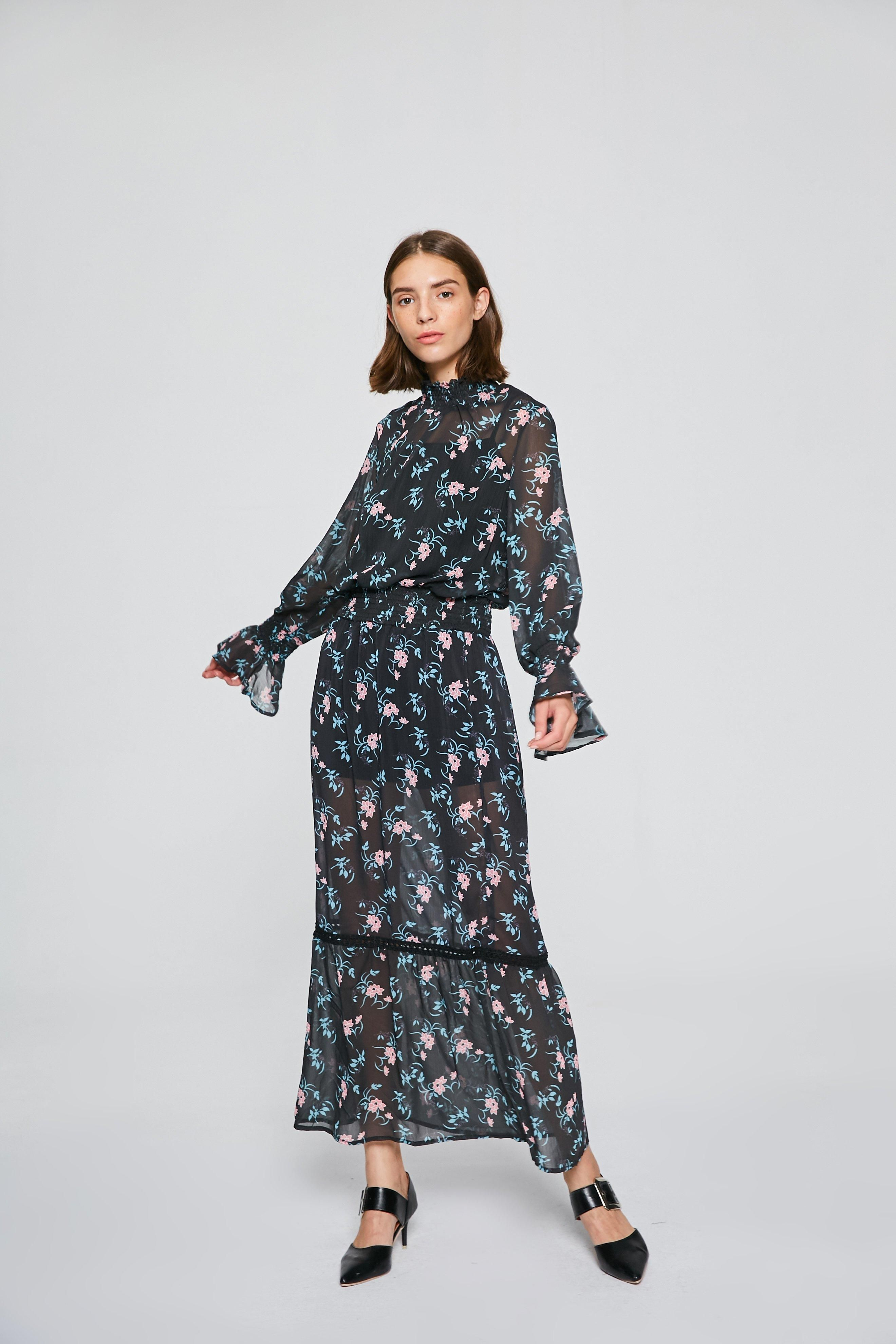 Long sleeve floral maxi dress mdr floral maxi dress floral