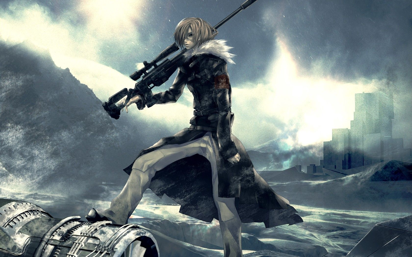 blondes winter snow guns Pixiv sniper rifles anime anime