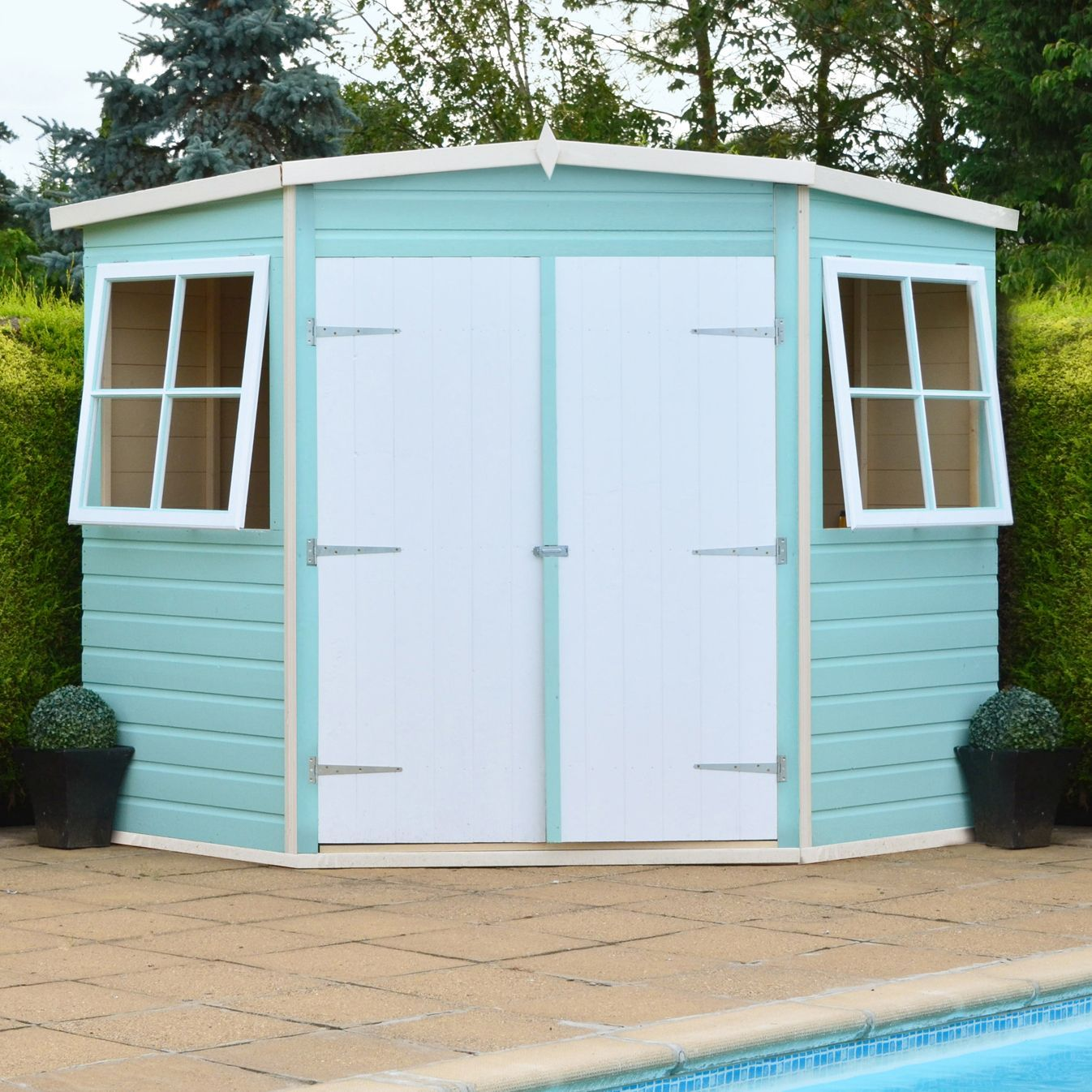 7x7 corner pent shiplap wooden shed with assembly service departments diy at bq - Garden Sheds 7x7