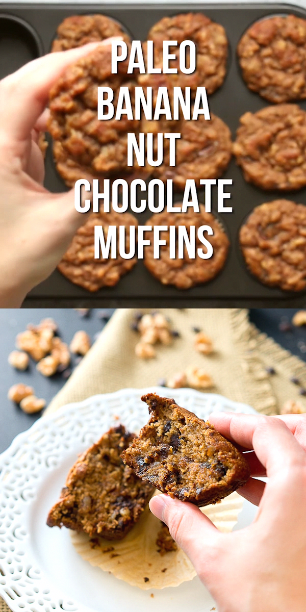 Rich, soft, and moist Paleo Banana Nut Chocolate Muffins - they are gluten free, grain free, dairy free, and Paleo. So delicious! #glutenfree #grainfree #sweets #paleo #whole30 #healthy #muffins #sugarlesscookies