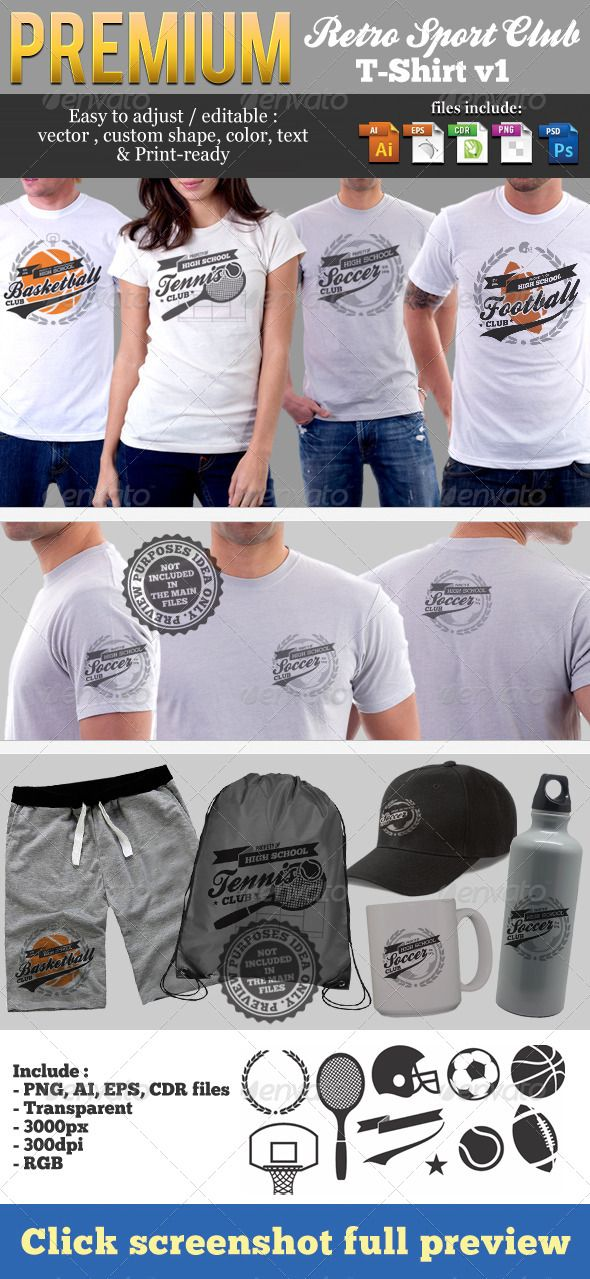 Retro Sport Club T-Shirt Templates Download here   - t shirt template