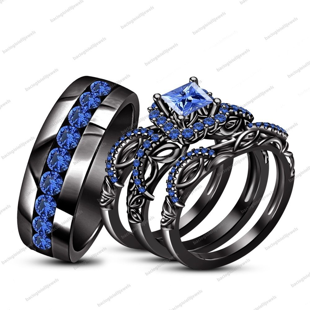 his her wedding ring set 14k black gold fn princess blue sapphire free gift - His And Her Wedding Ring Set