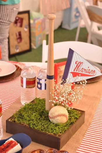 Vintage Baseball Baby Shower Centerpiece Decoration Ideas Baby
