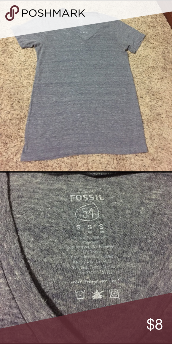 Fossil Tee! Authentic fossil Tee. Grey v-neck tee. Light material, great material! authentic fossil 54 Tops Tees - Short Sleeve