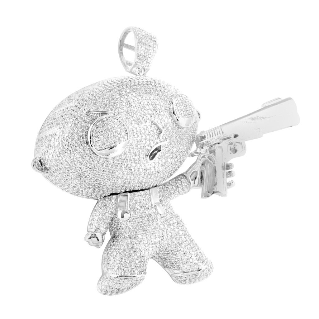 14k white gold finish baby cartoon with gun lab diamond family guy 14k white gold finish stewie with gun lab diamond family guy pendant aloadofball