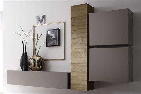 composition murale malaga beige et imitation ch ne miel. Black Bedroom Furniture Sets. Home Design Ideas