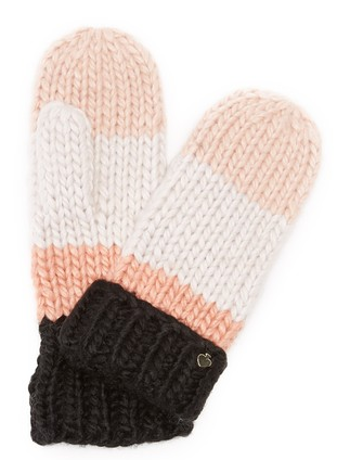 Kate Spade New York Chunky Knit Colorblock Mittens - Praline
