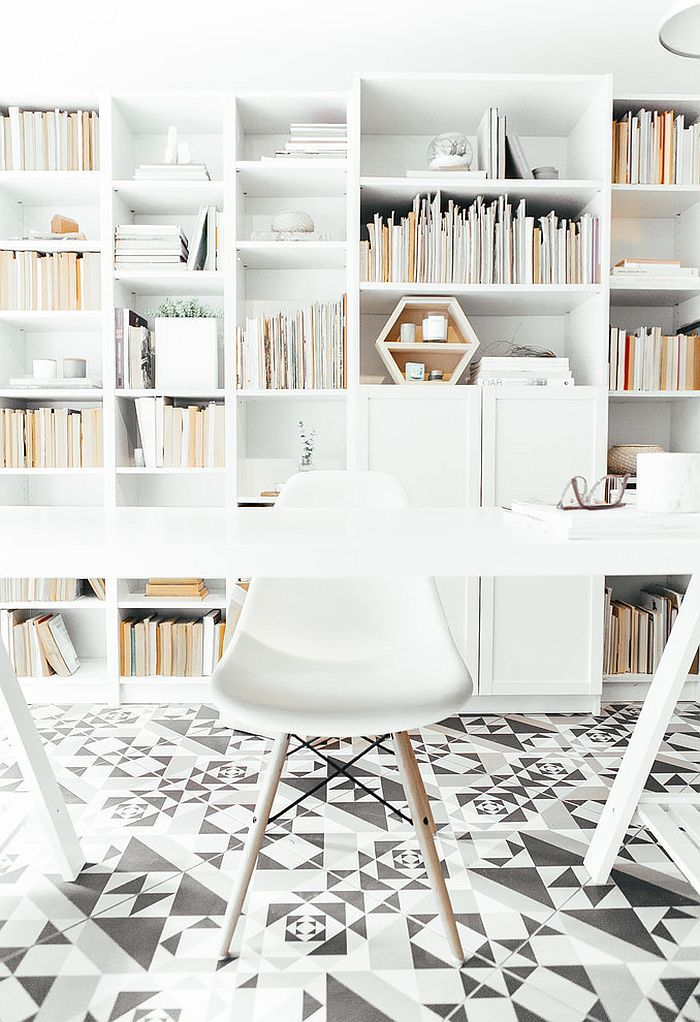 Floor tiles bring geometric pattern to the home office [Design: Andrea McLean Design Office]