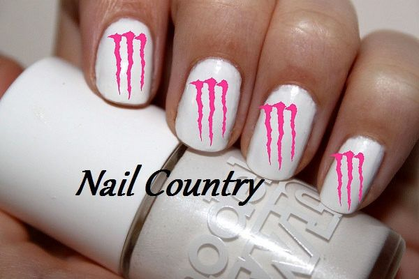 50pc Pink Monster Energy Nail Decals Art Stickers Best Price Nc9