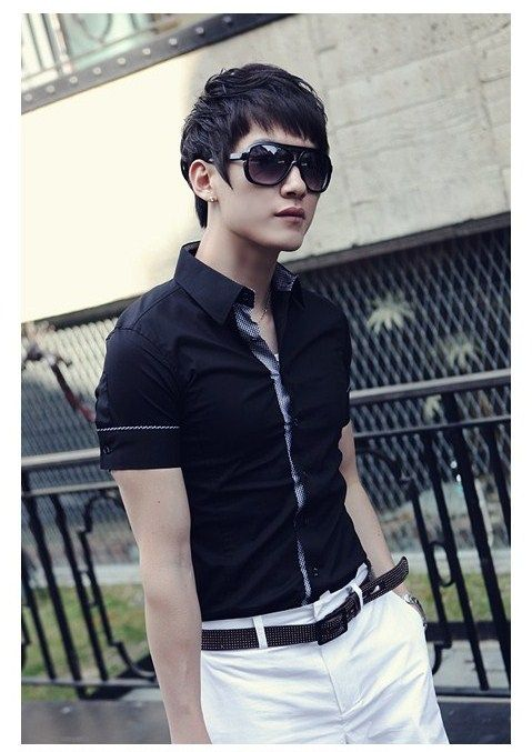 Tight collar shirt, fully buttoned, with rolled up sleeves or exposed arms