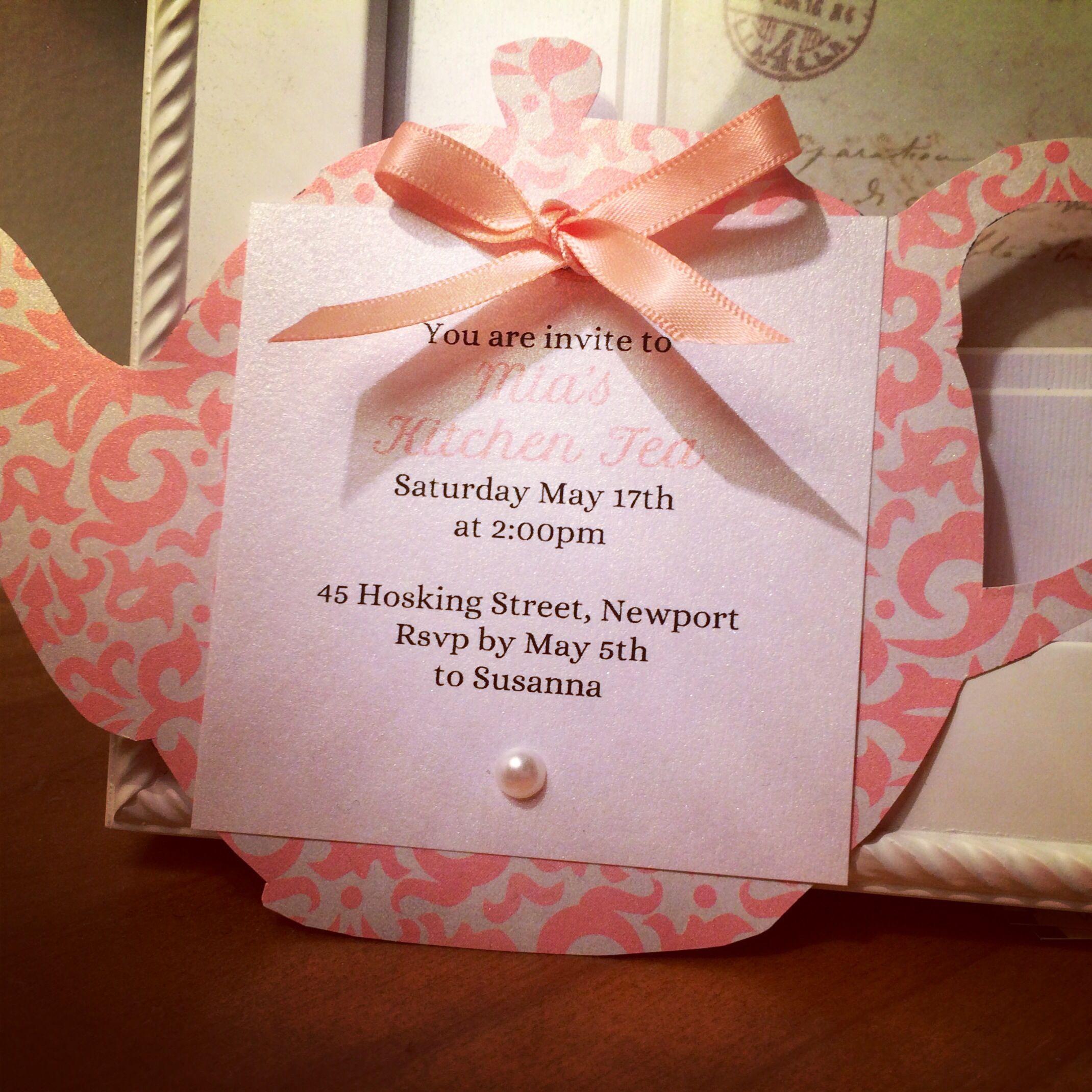 Kitchen tea invite- so cute with this teapot theme | Persephones 1st ...