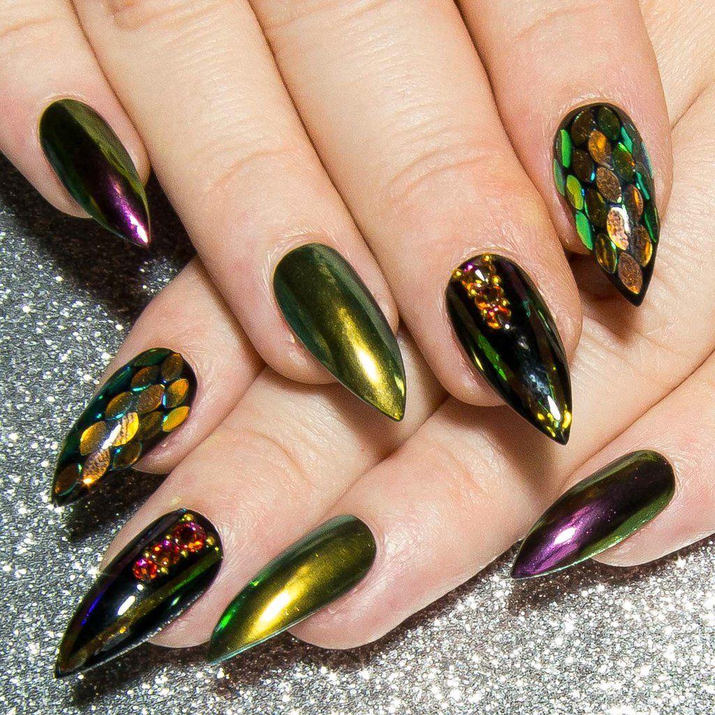 Dragon Scales Fantasy Press On Nails Iridescent Nail Art All